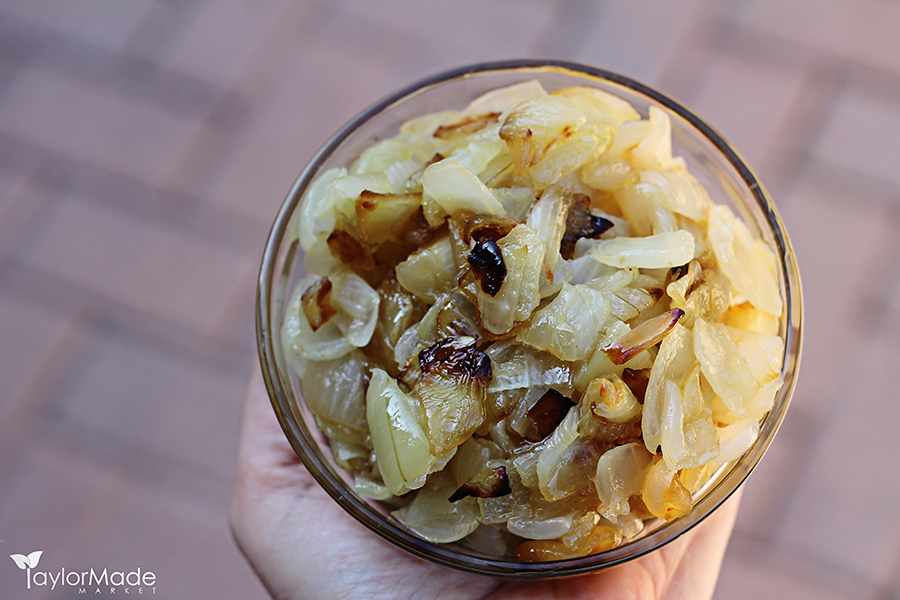 caramelized onions in a bowl holding