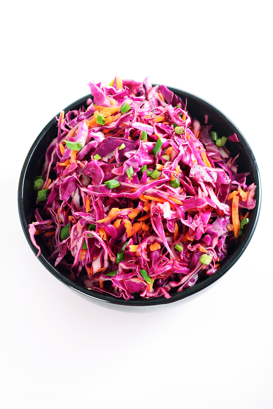 shot of raw red cabbage salad vertical