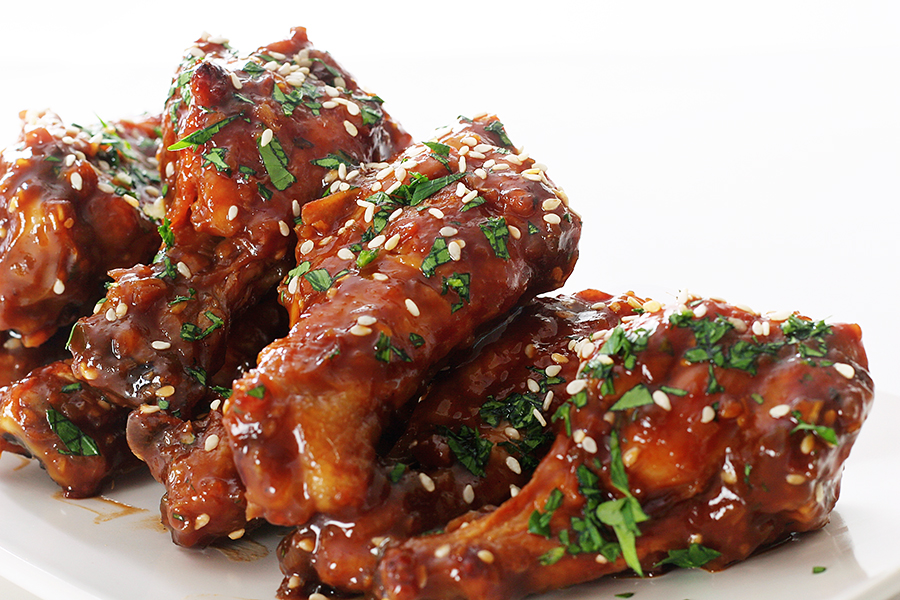 shot of asian bbq chicken wings