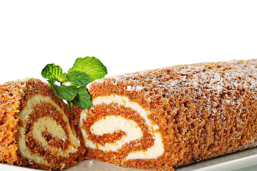 shot of a pumpkin roll upclose with mint