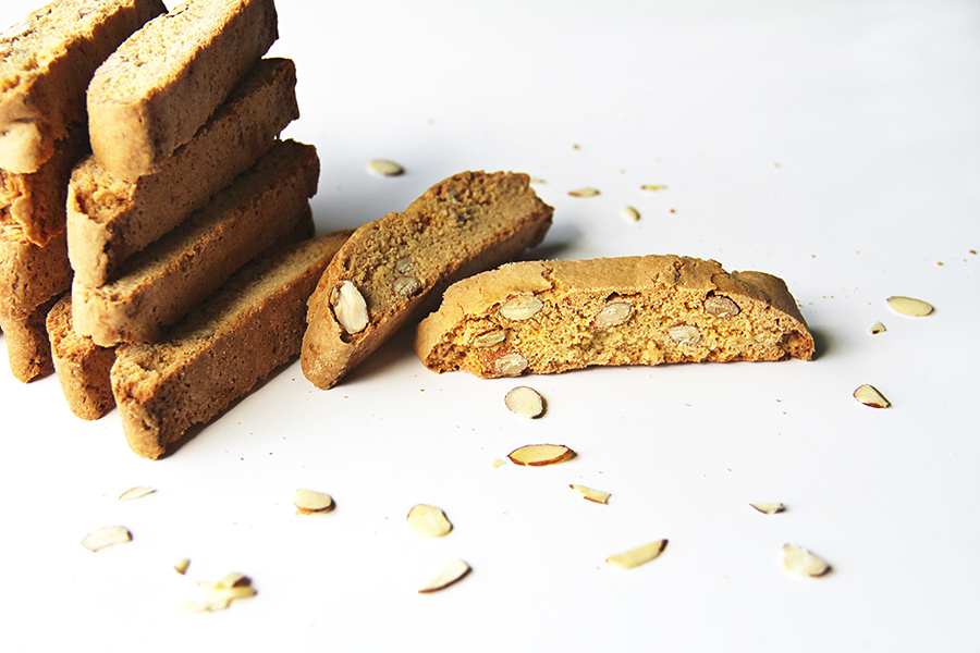 vanilla almond biscotti stacked