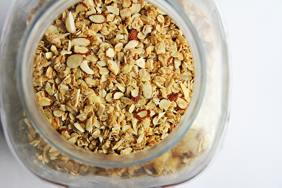 Jar of almond oatmeal