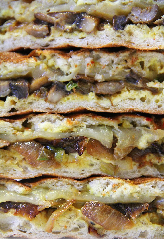 Mushroom panini stack upclose