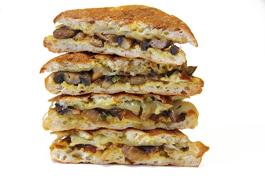 Mushroom panini stacked