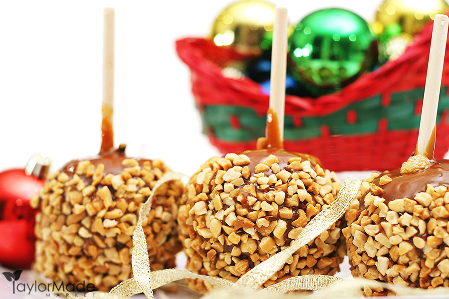 shot of Holiday caramel apples