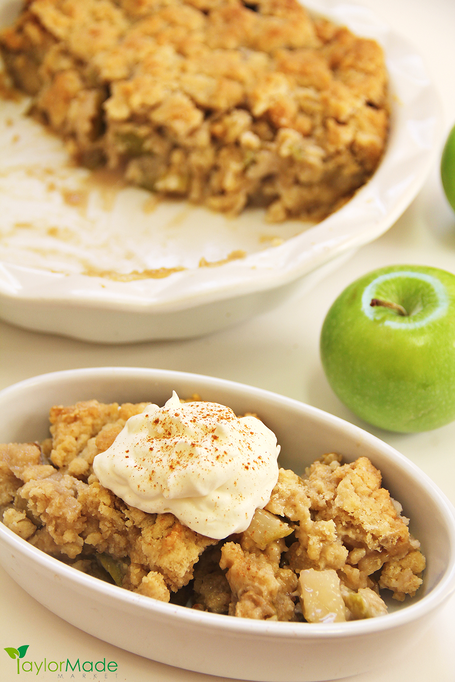 Apple Cobbler Crisp whipped cream cinnamon