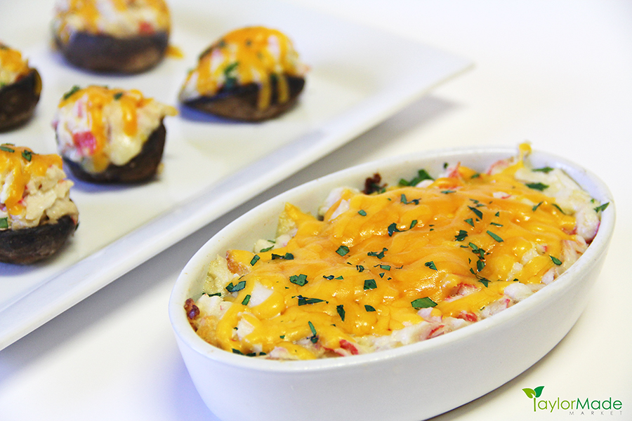 seafood dip and crab stuffed mushrooms