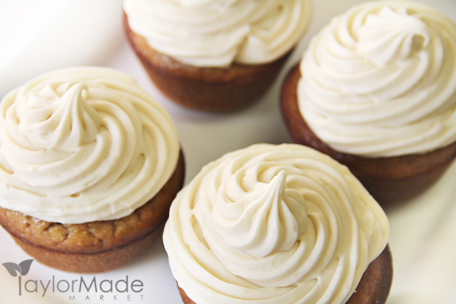 Maple Cream Cheese Frosting banana bread cupcakes with maple cream cheese frosting