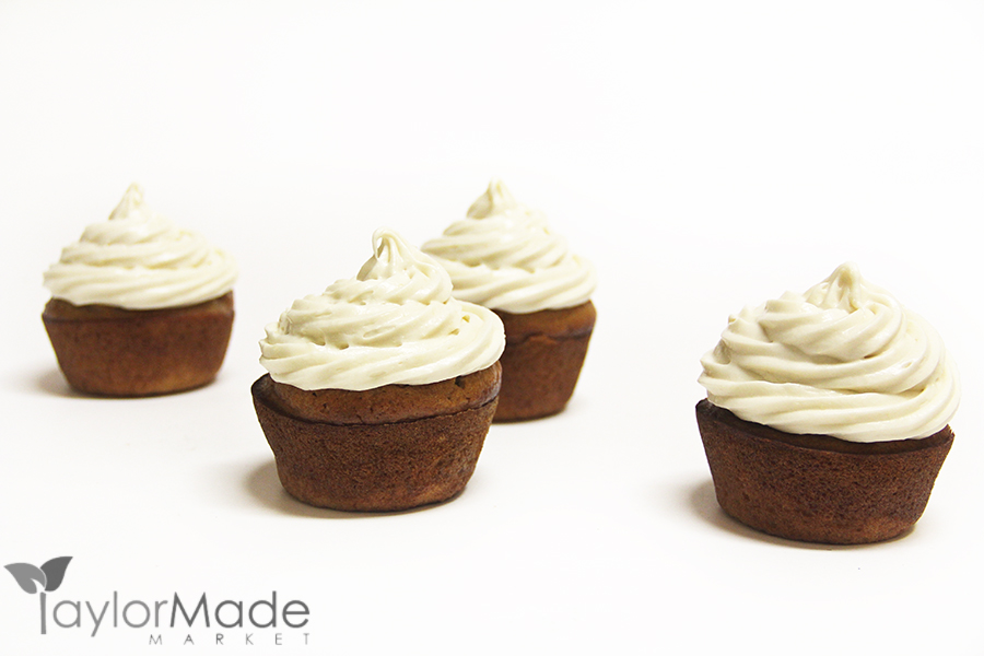 Banana Maple Cupcakes on white