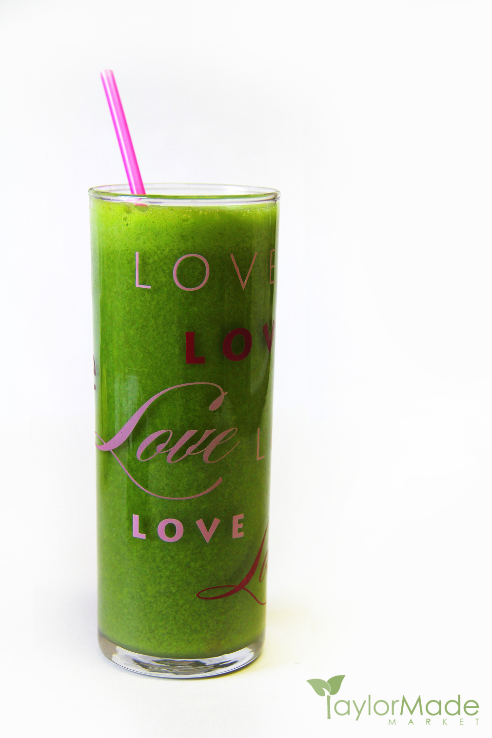 Love Green Juice Glass Vertical