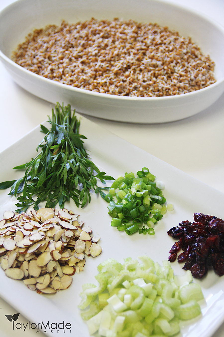 wheatberry salad ingredients vertical