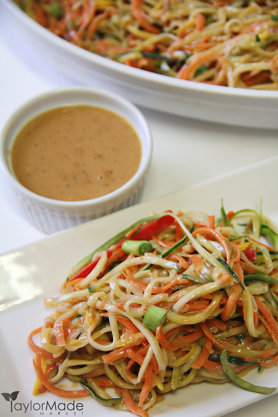 Vegetable Noodle Salad Peanut Sauce upclose vertical