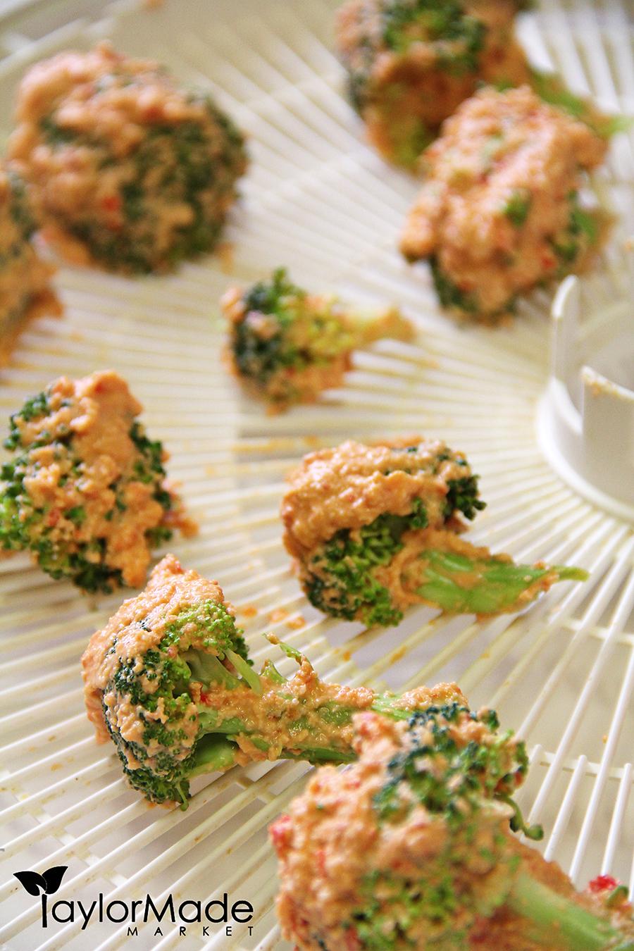 broccoli with cheese on dehydrator