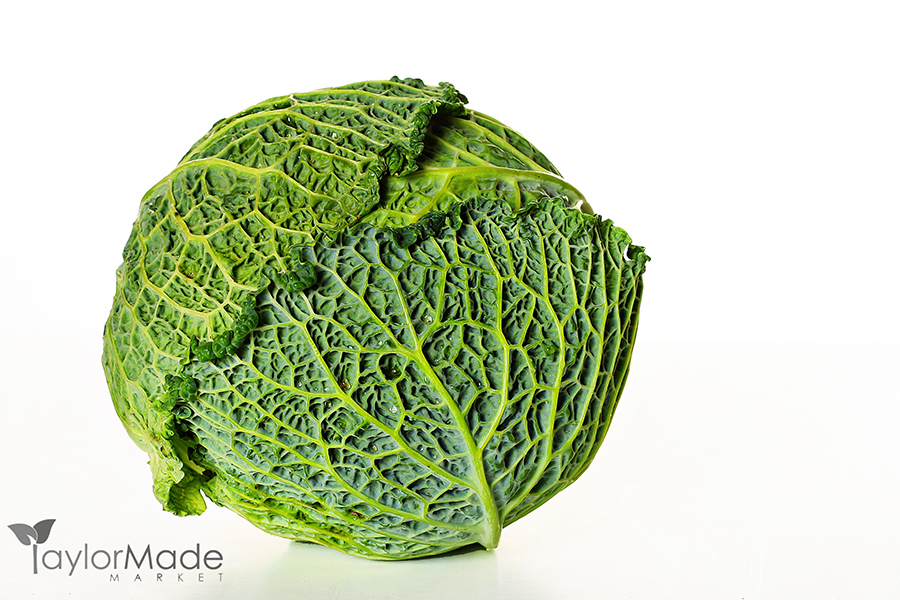 shot of a head of savoy cabbage