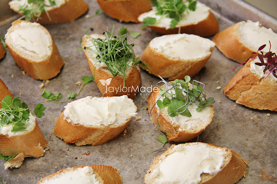 microgreen crostini assortment