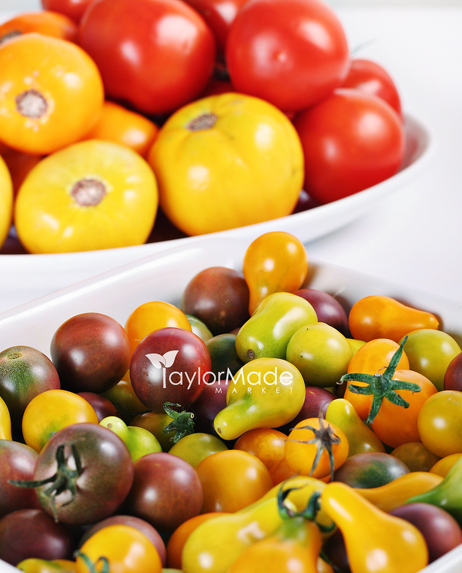 variety of organic heirloom tomatoes
