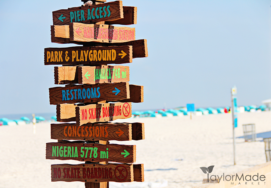 Beach Sign Directions