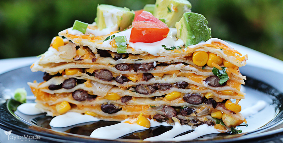 santa fe tortilla stack bean cheese